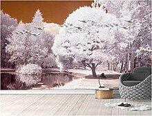 Fototapete 200x140cm Romantischer Großer Baum Am
