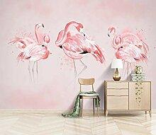 Fototapete 350x256 cm - 7 Streifen Rosa Flamingo