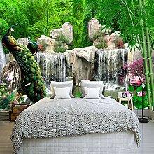 Fototapete 3D Bambus Wald Steingarten Pfau Wand