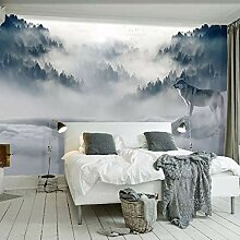 Fototapete 3D Bergwald Wald Tier Wandmalerei