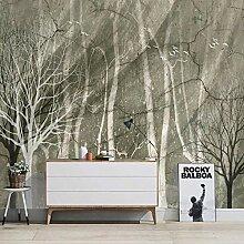 Fototapete 3D Birkenwald grau Benutzerdefinierte