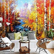 Fototapete 3D Birkenwald Ölgemälde Wand Tapete