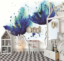 Fototapete 3D Blaue Aquarellkornblumenblume
