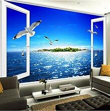 Fototapete 3D Blauer Himmel, Meer, Möwe Moderne