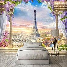 Fototapete 3D Blumenturm Stadt 3D Wandbilder Für