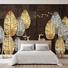 Fototapete 3D Braune Backsteinmauerblätter