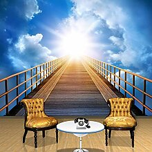Fototapete 3D-Brücke mit blauem Himmel und