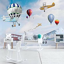 Fototapete 3D-Cartoon-Flugzeug ballon-Kinderzimmer