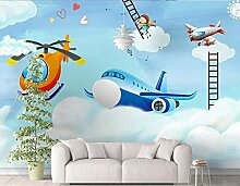 Fototapete 3D Cartoon Flugzeug Kinderzimmer Wand