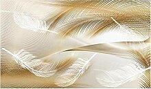 Fototapete 3D Effekt Abstrakte Federn Mit Goldenen