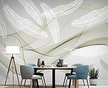 Fototapete 3D Effekt Abstrakte Linien Weiße Feder