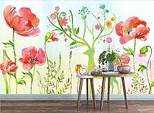 Fototapete 3D Effekt Aquarell Elch Blumen