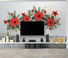 Fototapete 3D Effekt Backsteinmauer, Blume,