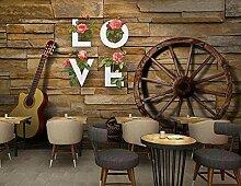 Fototapete 3D Effekt Backsteinmauer Rad Gitarre