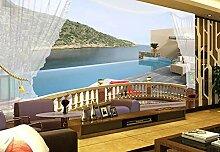 Fototapete 3D Effekt Balkon Mit Meerblick Tapeten