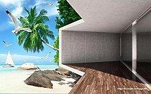 Fototapete 3D Effekt Balkon Mit Palmen