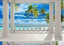 Fototapete 3D Effekt Balkon, Strand, Meerblick