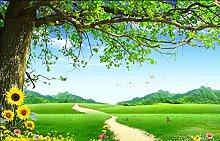 Fototapete 3D Effekt Baum, Gras, Schmetterling,