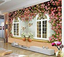 Fototapete 3D Effekt Blume Rosa Fenster Tapeten