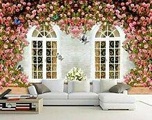Fototapete 3D Effekt  Blume Schmetterling Fenster