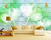 Fototapete 3D Effekt Blumen Grün Transparent