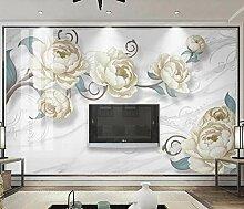 Fototapete 3D Effekt Blumen Marmor Stein Weiß