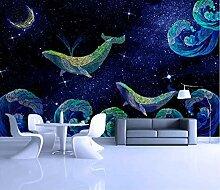 Fototapete 3D Effekt Cartoon gemalten Wal Tapete