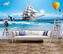 Fototapete 3D Effekt Das Segelboot Mit Meerblick