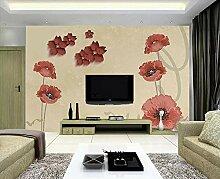 Fototapete 3D Effekt Einfache Blumen Handgemalten
