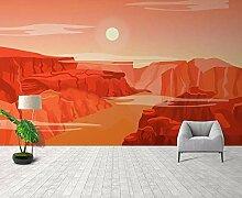 Fototapete 3D Effekt Einfache Rote Berge Und