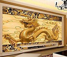 Fototapete 3D Effekt Geprägte Drachen Goldene