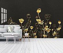 Fototapete 3D Effekt Geprägte Goldene Rosenlinien