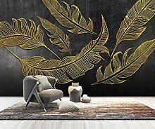 Fototapete 3D Effekt Geprägte Hohle Goldene Feder