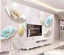 Fototapete 3D Effekt Geprägte Juwelen Und Tulpen