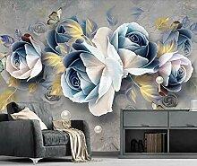 Fototapete 3D Effekt Geprägter Rosenblumenschmuck