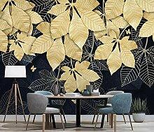Fototapete 3D Effekt Goldene Blätter Wandbilder