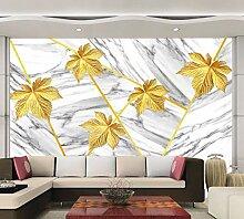 Fototapete 3D Effekt Goldene Marmorblätter Tapete