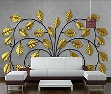 Fototapete 3D Effekt Goldener Blattbaum Wandbilder