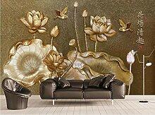 Fototapete 3D Effekt Goldenes Relief Blumenblatt