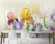 Fototapete 3D Effekt Hand Bemalt Blumen Einfach