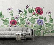 Fototapete 3D Effekt Handgemalte Blumen Mohn