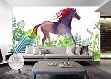 Fototapete 3D Effekt Handgemalten Blumen Pferd