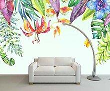 Fototapete 3D Effekt Handgemalten Blumen Wald