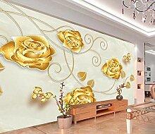Fototapete 3D Effekt Hintergrundwand Der Goldrose