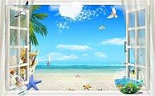Fototapete 3D Effekt Kokosnussbaum, Blauer Himmel,