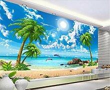 Fototapete 3D Effekt Kokosnussbaumstrandlandschaft