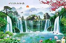 Fototapete 3D Effekt Landschaftswasserfall, Sonne,