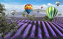 Fototapete 3D Effekt Lila Lavendel Heißluftballon