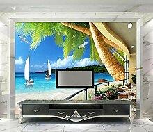 Fototapete 3D Effekt Meer Balkon Mit Palmen