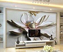 Fototapete 3D Effekt Relief Weißer Lotus Moderne